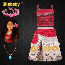 2019 New Year Girls Moana Dress Up Kids Beach Summer Vaiana Clothing Set Birthday Party Carnival Cosplay Costumes