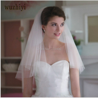 Cheep In Stock Hot Sale White Two Layer Wedding Veil Elbow Length 2017 New Design Bridal Veil cathedral wedding veil
