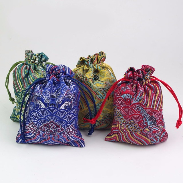 5pcs Ethnic Style Fabric Gift Bags Drawstring Jewelry Packaging Wedding Pouch 10x14cm