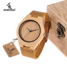 Бобо птица WF18 miyota 2035 движение наручные часы натуральная кожа классический Бамбук Деревянные часы для мужчин и женщин Дерево Подарки Box
