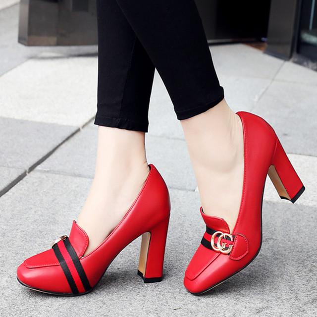 Bombas de las mujeres Nuevos Gruesa y Tacón Grueso Zapatos de Mujer Del Dedo Del Pie Cuadrado Tacones Altos Bombea Zapatos de Las Señoras de encaje Rojo/Blanco Zapatos de Boda 43