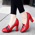 Women Pumps New Thick&Chunky Heel Shoes Woman Square Toe High Heels Pumps Ladies Shoes lace Red/White Wedding Bridal Shoes 43