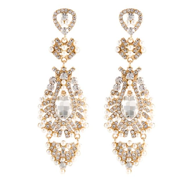 9 cm luxurious bridal earrings vintage gold brincos wedding 9 cm luxurious bridal earrings vintage gold brincos wedding bridesmaids jewellery pearl chandelier earrings earings brinco aloadofball Images