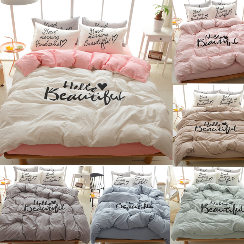 online buy wholesale couples bedding from china couples bedding  - pcs quality pure cotton sweet white pale pink grey green couple lovequeenking size