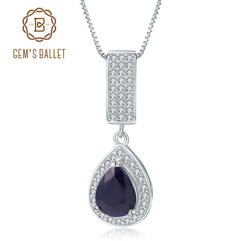 GEM'S BALLET 925 Sterling Silver Jewelry 1.29Ct Natural Water Drop Blue Sapphire Elegant Pendant Necklace For Women Fine Jewelry