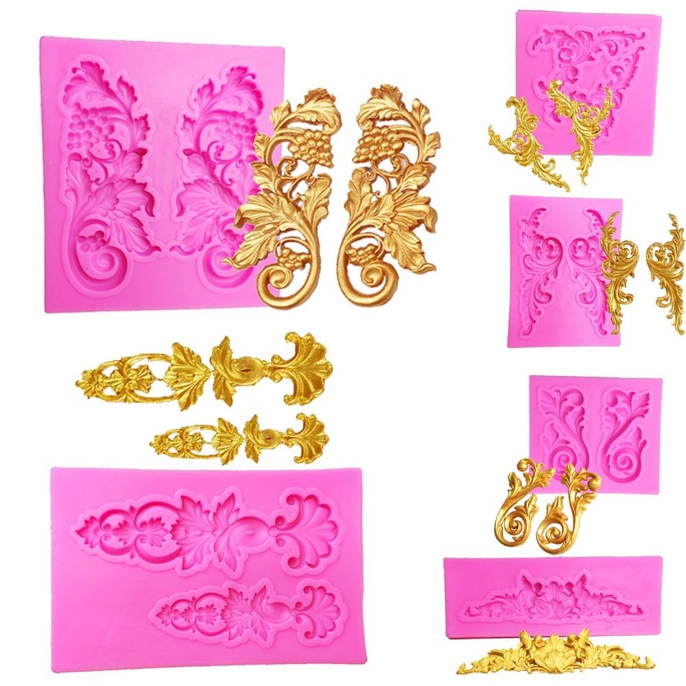 Удебеляване на цвят на шоколад, сватбена торта декорация на инструменти за diy печене на фондан дантела границата на силиконова плесен.