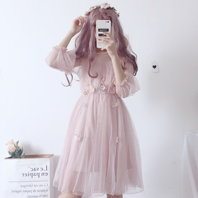 Summer Japanese Lolita Lace Dress Soft Kawaii Floral Vintage Flowers Women Sexy Clothing Sweet Pleated Femme Two Piece Sets