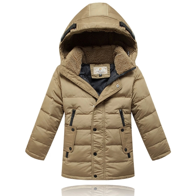 ФОТО 2016 Autumn & Winter Children Down Baby Jacket Winter Outerwear Thicken Boys White Duck Down Jacket Long Down Jacket Age 10-16T