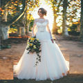 Elegant Women Backless Long Sleeve Lace Wedding Dresses 2016 Vestidos De Noiva Sereia Scoop Sheer Bow Vintage Bridal Gown