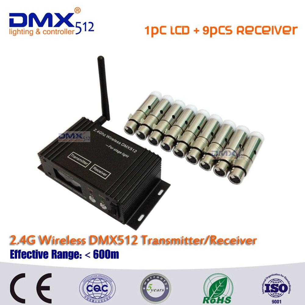 1 + 9 DMX512 Controlador inalámbrico 2.4G Transmisor Receptor 2 en 1 Pantalla LCD Potencia Repetidor ajustable Controlador de iluminación DMX512