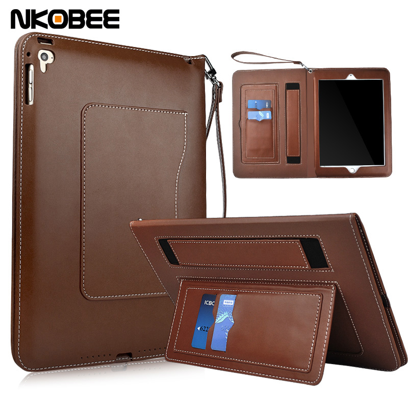 NKOBEE Luxury PU Leather Flip Cover For Apple iPad Air 2 Air2 Smart Case Wallet Card Holder Stand Book Wake Sleepor for iPad 6