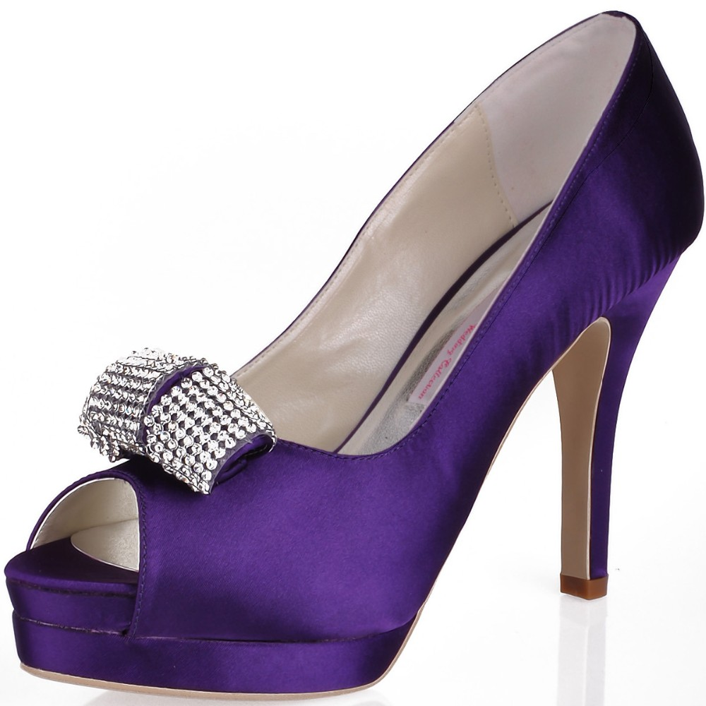 Shoes Woman EP11061-IPF Purple High Heel Platform Prom Evening Pumps Crystal Bow Satin Lady Bride Wedding Bridal Shoes Ivory ab crystal heels luxury diamond platform bridal pumps wedding shoes lady sparkling prom party shoes mother of bride shoes