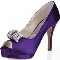 Shoes Woman EP11061 IPF Purple High Heel Platform Prom Evening Pumps Crystal Bow Satin Lady Bride Wedding Bridal Shoes Ivory