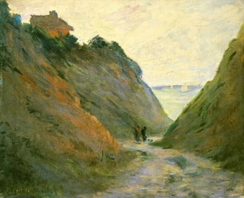 High quality Oil painting Canvas Reproductions The Sunken Road in the Cliff at Varangeville (1882) By Claude Monet hand painted