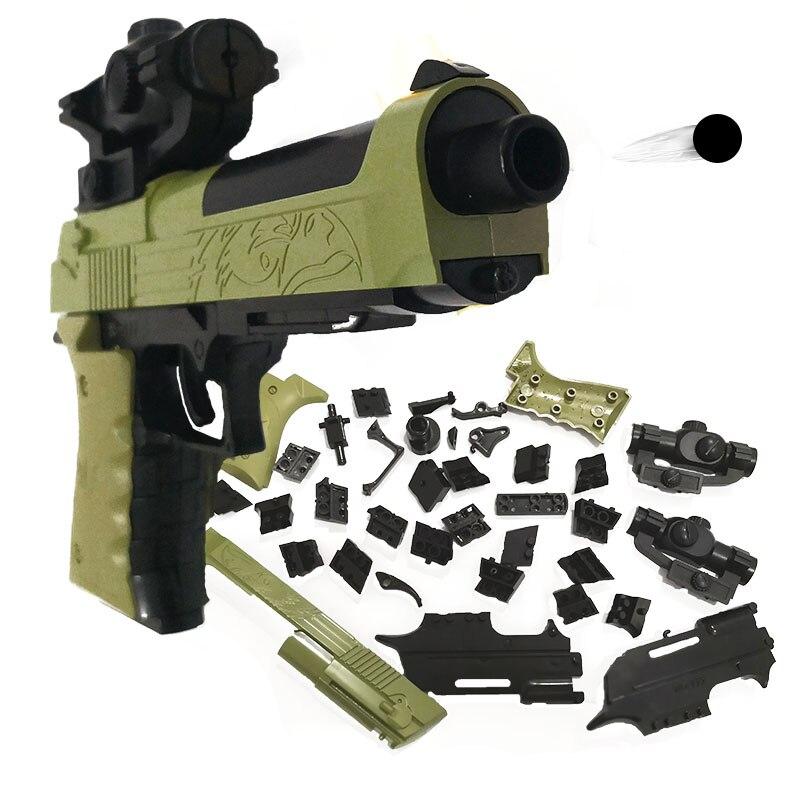 купить DIY Building Blocks Toy Gun Beretta and Gunsight Assembly Toy Puzzle Model Can Fire Bullets(Mung Bean) with Instruction Book по цене 297.15 рублей