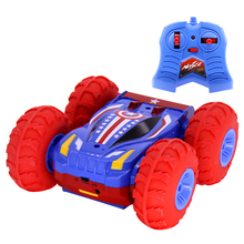 Super Hero RC Car 2.4G Spider-Man Captain America Stunt Drift Deformation Buggy 360 Degree Double Face Toys for Boy Gift