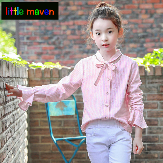 90a665363 Girls Blouse Baby Girl Pink School Shirts Children Lace Long Sleeve Striped  Shirt Kids Autumn Casual Tops Blouse Winter Clothes
