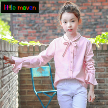 Girls Blouse Baby Girl Pink School Shirts Children Lace Long Sleeve Striped Shirt Kids Autumn Casual Tops Blouse Winter Clothes