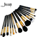 Jessup pro 15 unids pinceles de maquillaje polvos sombra de ojos corrector delineador lip brush tool negro/oro