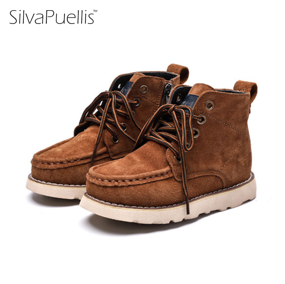 New SilvaPuellis Children's Winter Solid Leather Snow Boots Baby Boy Fluff Round Toe Warm Boots Lace-Up Fashion Flat Boots baby boots winter boy snow boots brand newborn leather baby boots for girl baby shoes infant kid shoes first walkers moccasins