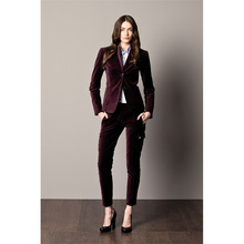 Fashion Grape Women Tuxedos Shawl Lapel Suit For Women Two Button Business Womens Velvet Suits Office Uniform 2 Piece Set