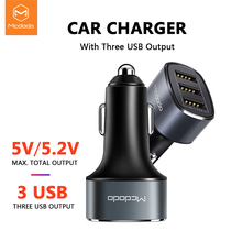Mcdodo 3 USB Ports Car Charger For Universal Mobile Phone 5.2A Fast iPhone Xiaomi Car-Charger Adapter in