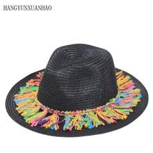Beach Hat Women Summer Sun Visor Cap Colorful Tassel Panama Sunhats Wide Brim Straw Jazz UV Fedora CAP Chapeau Femme