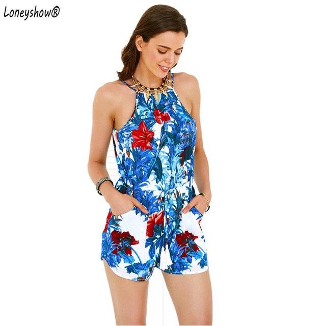 0092179862d Women s Spaghetti Strap Floral Print Romper Women Jumpsuits Bohemian  Playsuits Combinaison Short Femme macacao feminino