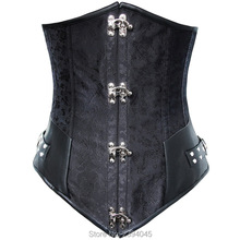 Gothic corset black silver alloy buckle collect physique slimming waist steampunk shapewear for girls quick bustier prime