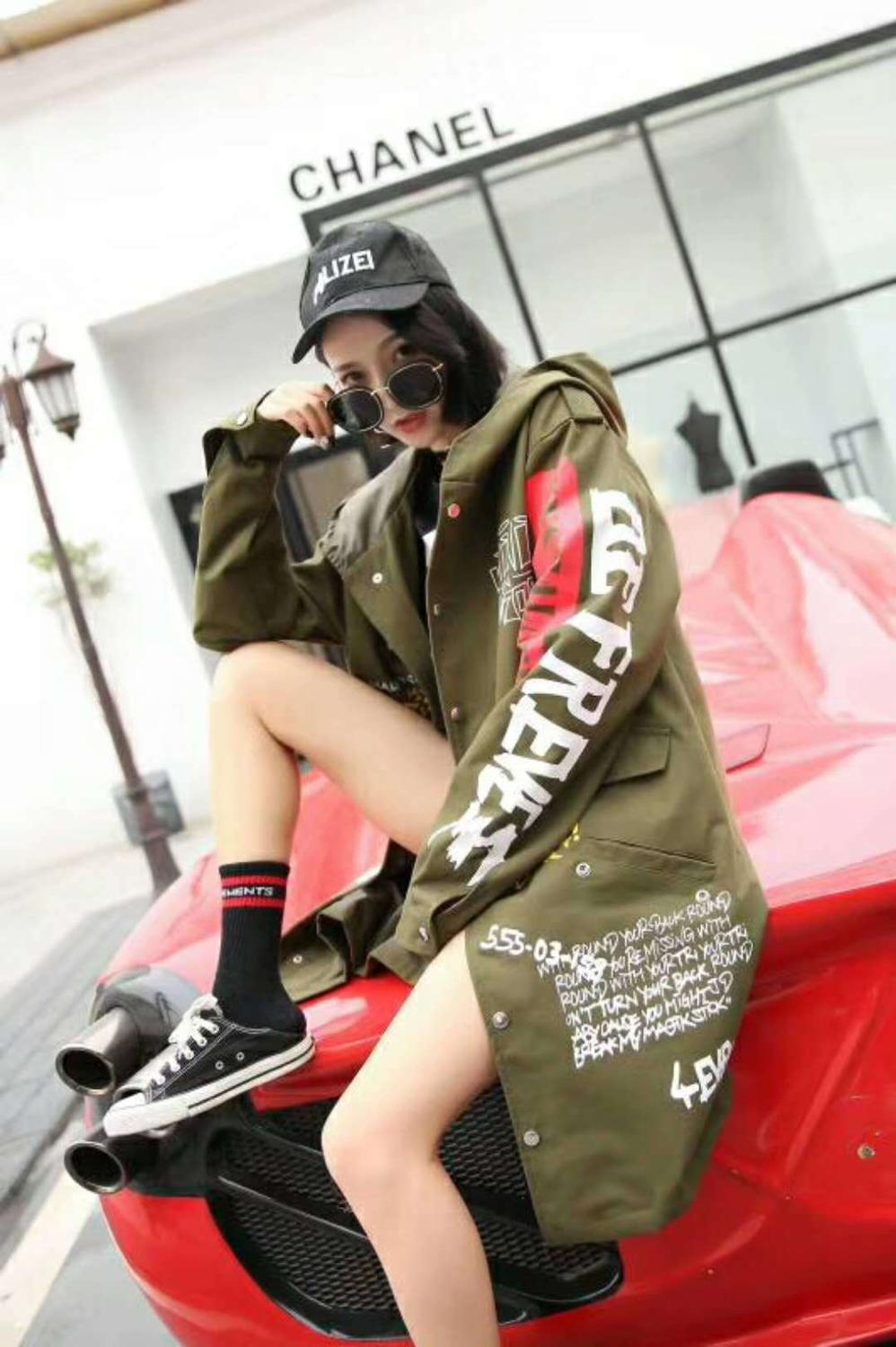 Women High Street Graffiti Printed Long Sleeve Jacket Harajuku BF Design Hooded Coat Casual Long Style