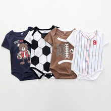 Fashion Baby Boys Newborn Baby Bodysuit Sports Infant Jumpsuit Brand Casual Basketball Football Baseball Print Baby Clothes DS9 summer fashion baby boys halloween one piece bodysuit mommy s little nightmare print baby gentleman jumpsuit clothes outfit ds9