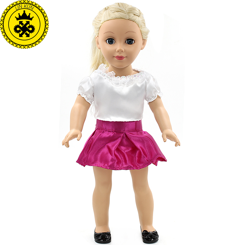 American Girl Dolls Clothing Doll Accessories White Shirt Red Skirt 18 Inch Doll Clothes Summer Dress MG-062 handmad 18 inch american girl doll clothes princess anna dress fits 18 american girl doll mg 032