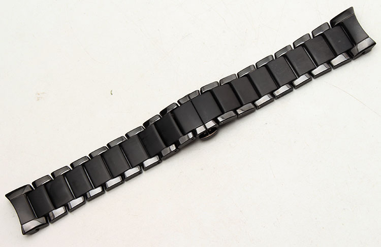 For AR1452 AR1451 High quality Ceramic watchbands black Strap with butterfly clasp lug End watch accessories
