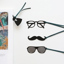 24 pcs/Lot Gentleman bookmark Black glasses Bowtie Mustache book mark Stationery School supplies marcadores de pagina CB767
