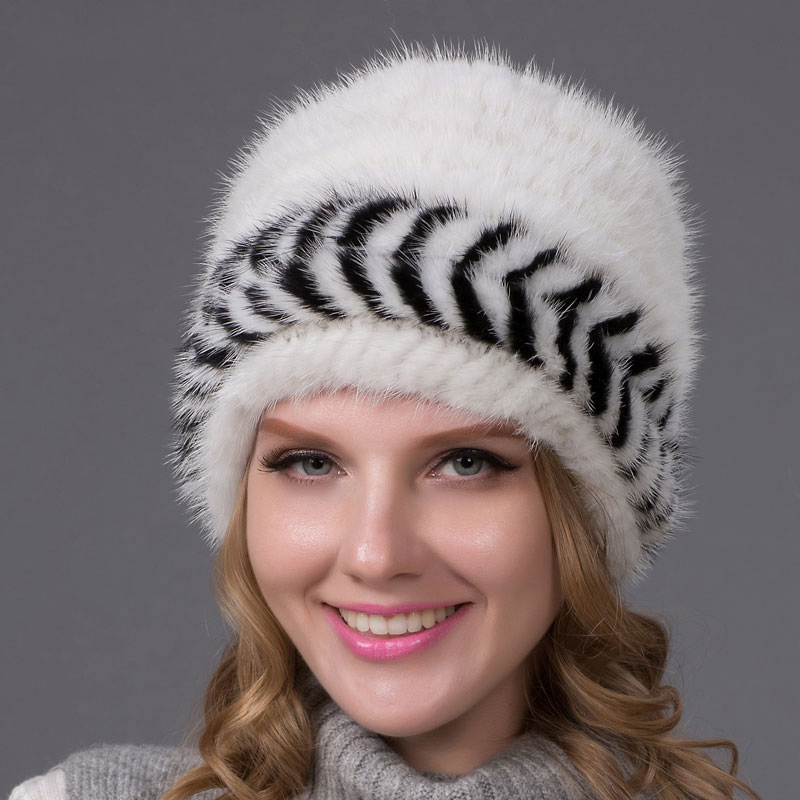 настоящая норковая меховая шапка женская осенняя и зимняя вязаная