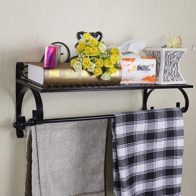 Wrought Iron Towel Rack Bar Bathroom Shelf Wall Mount Multifunctional