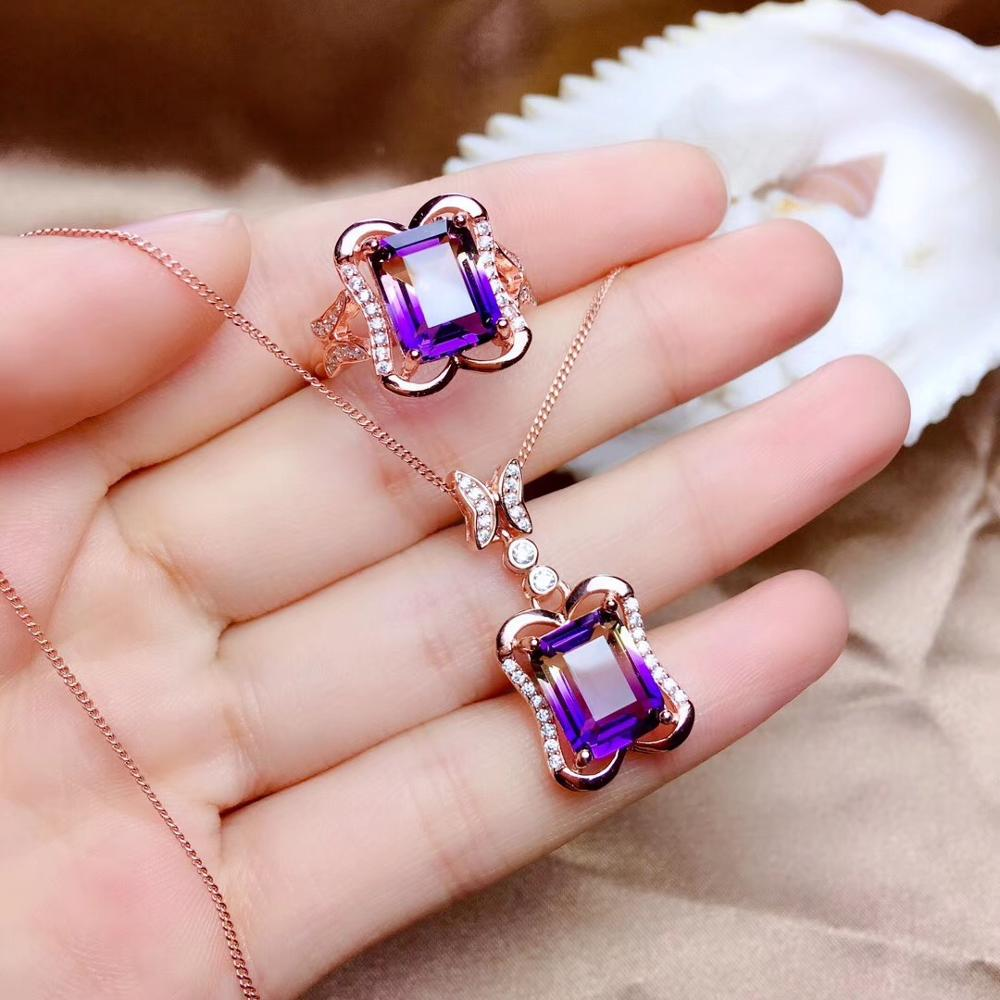 Natural Ametrine Ring and necklace jewelry set for women purple fashion jewelleryNatural Ametrine Ring and necklace jewelry set for women purple fashion jewellery