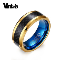 Vinterly Fashion Jewelry Mens 8mm Black Carbon Fiber Rings High Polished Blue Gold Color Tungsten Ring for Men
