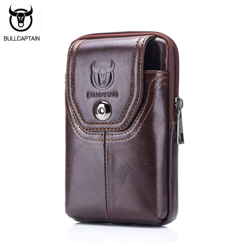 BULLCAPTAIN Phone Cigarette Purse Fanny Pack Waist Bag Leather Hip Bum Money Belt Bag Waist Packs Men Belt Pouch Bags Vertical men male casual functional canvas bag waist bag money phone belt bag pouch bum hip bag shoulder belt pack 2018