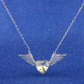 2016 NEW  Plating Wings of Angels Heart Austria Crystal Necklace Girl Crystal Jewelry Christmas Gift