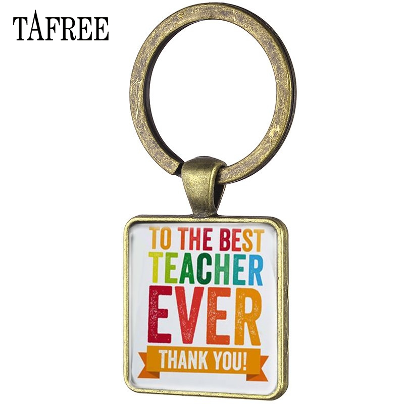 TAFREE To The Best Teacher Ever Keychain Vintage Square Shape Thank You Teacher 's Gift Key Chain Keyring Holder FQ472