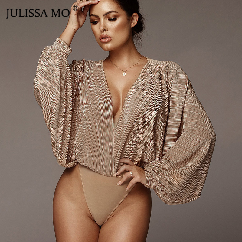 JULISSA MO V-Neck Hollow Out Sexy Bodysuit Women Vintage Long Sleeve Draped   Jumpsuit   Rompers 2019 Spring Fashion Casual Overalls