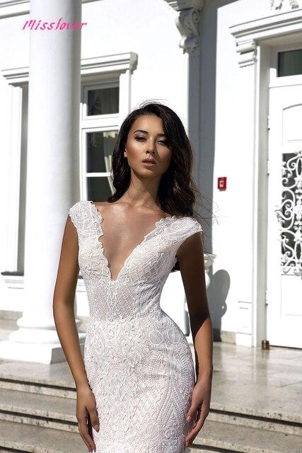 Robe de mariee sexy Illusion V-neck Backless Lace Mermaid Wedding Dresses 2021 new Luxury Bridal Gown vestidos de noiva 2