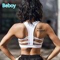Beboy calidad superior racerback atractivo sujetadores deportivos de alta elástico gimnasio yoga ropa interior sujetador deportivo acolchado stretch gimnasio sport bra top