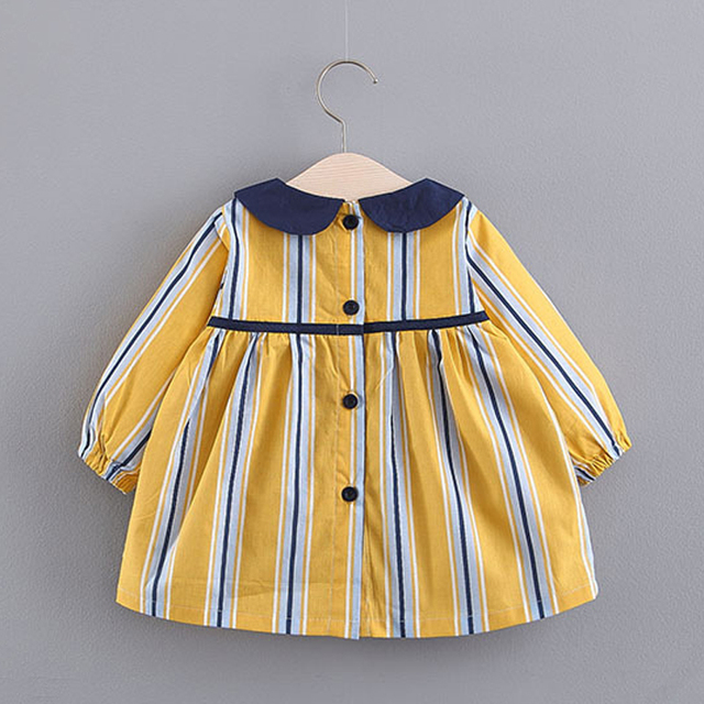 Cute Striped Cotton Dress with Round Collar