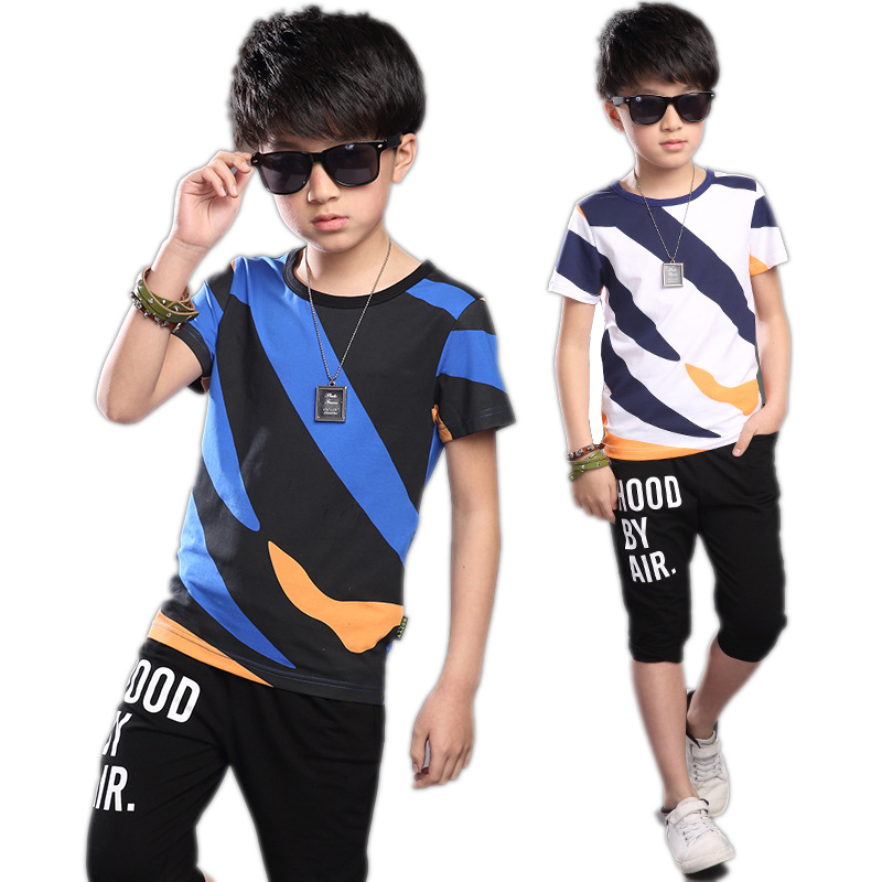 Baby Boy Clothing Sets Summer Boy Rainbow Sports Suit 9 11 12 Years Boys Clothes Suit For Children Kids Teenage Boys Short Pants