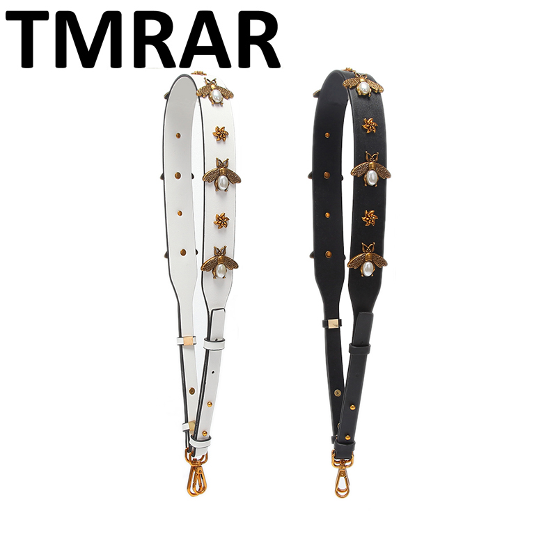 2018 Fashion retro flowers bee pu leather strap with studs bag straps adjusted hot chic bag necessary women shoulder belts qn381