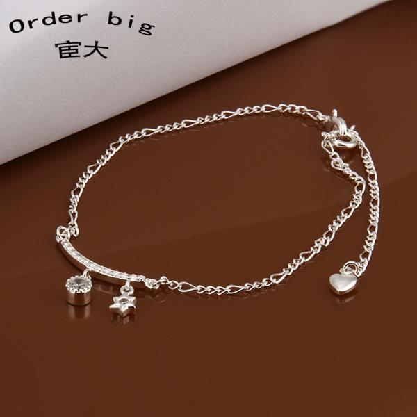 A015 Promotion Factory Price 925 font b jewelry b font silver plated popular anklets Chain wholesale