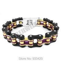 Free shipping! Purple Gold Black Heavy Bicycle Chain Biker Bracelet Stainless Steel Jewelry Motor Biker Men Bracelet SJB0281