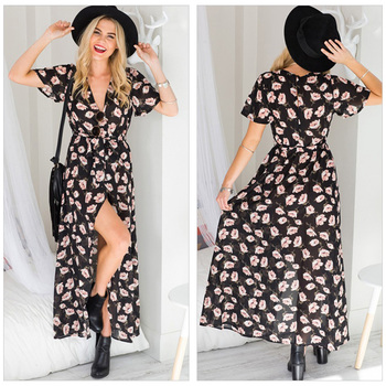 2019  Dresses Summer 2018 Women Party Night Dress Casual Gown Long Drops Holiday Floral Flower Print Long Dress Women Clothes Платье